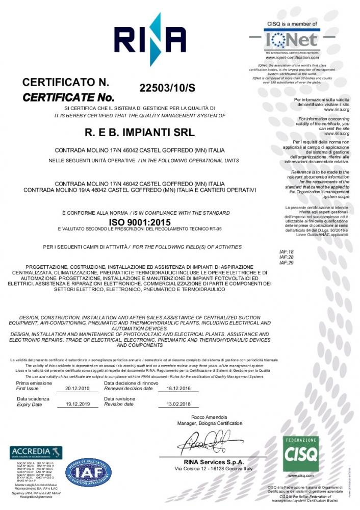 Certificazioni Azienda Reb Impianti